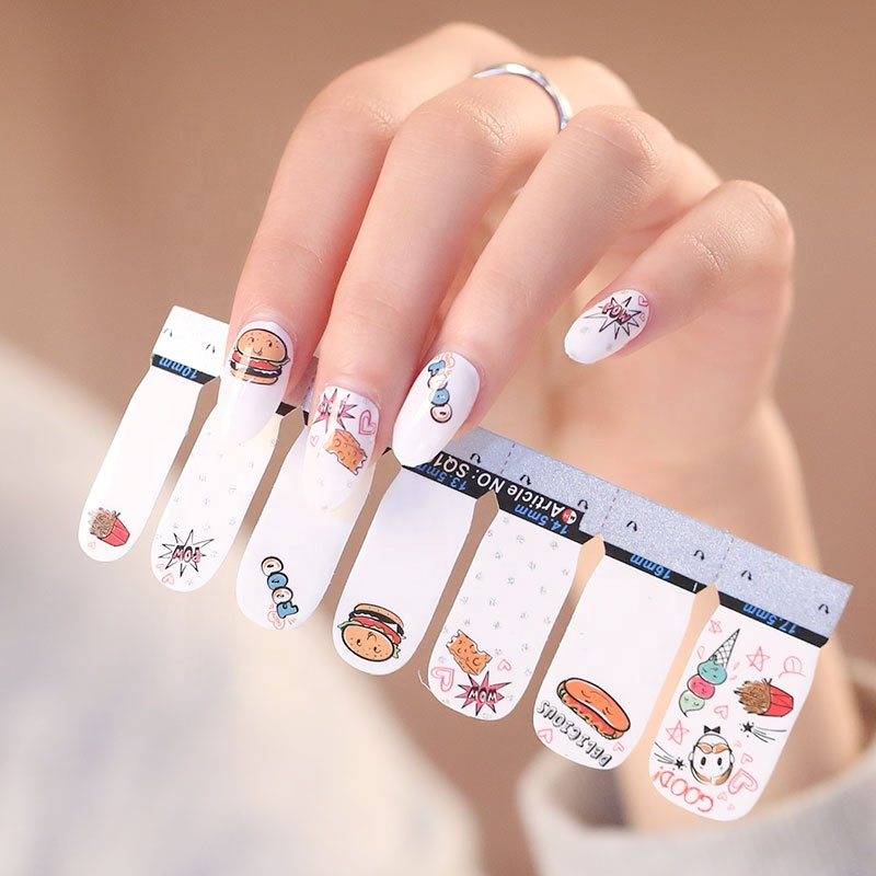Hot Sale 2d simple nail Polish wraps full cover nail stickers